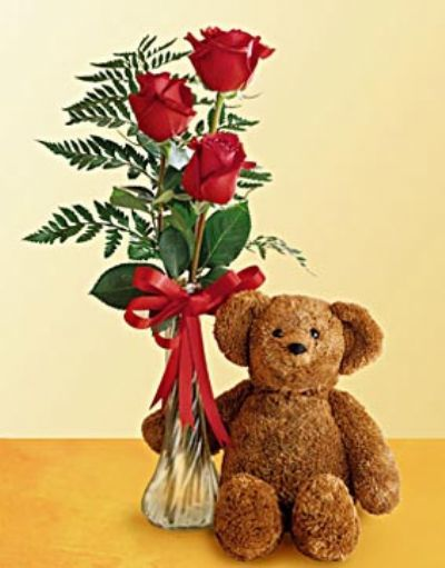 roses and teddy bear