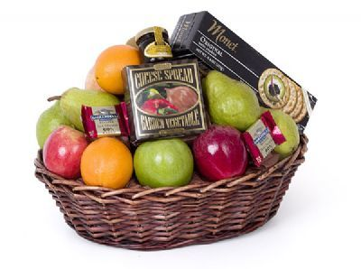 gourmet gift basket, fruit and chocolate gift basket, assorted fruits and jams basket