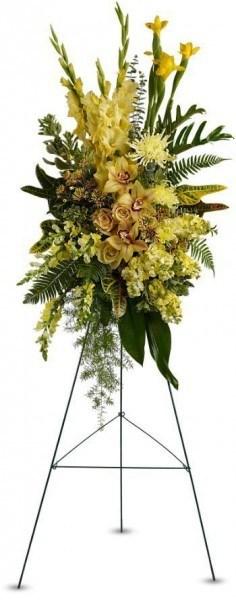 sympathy flowers, memorial flowers, standing spray funeral arrangement