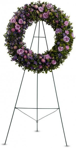memorial flowers Toronto, sympathy wreath Markham, tribute wreath, roses, asters, button spray mums, purple, lavender flowers