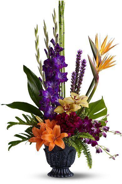 tropical funeral arrangement, sympathy flowers