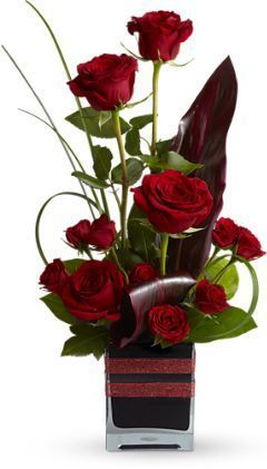 contemporary floral arrangement, roses, red roses