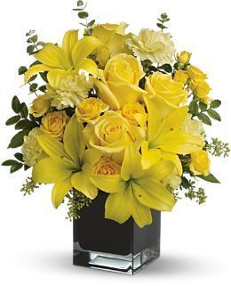 yellow bouquet, summer bouquet, roses, lilies