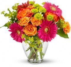 pink gerbera daisy, bi-colour roses, orange, green button mums, summer bouquet