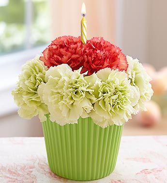 Carnation cupcake and candle