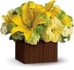 summer bouquet, yellow flowers, llilies, roses, gladioli, miniature carnations, button spray mums
