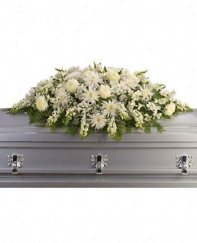 white flowers casket spray, casket spray, sympathy flowers, funeral flowers, funeral floral arrangements