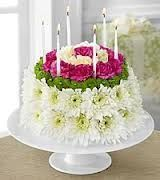 birthday flowers, flowers in the shape of a cake, floral birthday gifts