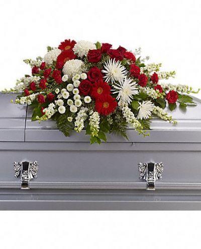 casket spray, funeral arrangements, sympathy flowers
