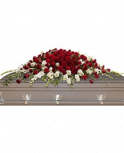 casket spray, funeral flowers, sympathy flowers, casket floral arrangement