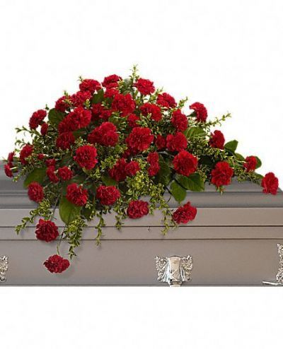 half casket spray, sympathy flowers, funeral flowers