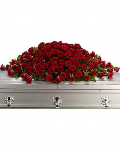 sympathy flowers, casket spray, red rose funeral arrangement, red rose casket spray