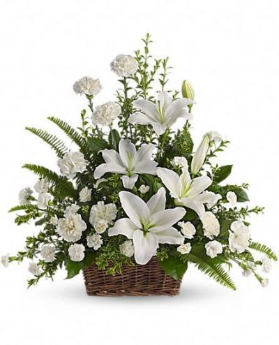 funeral bouquet, funeral flowers in a basket, sympathy flowers