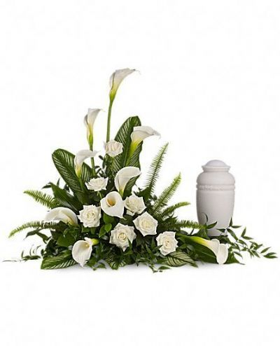 funeral spray, sympathy flowers, calla lilies, white roses