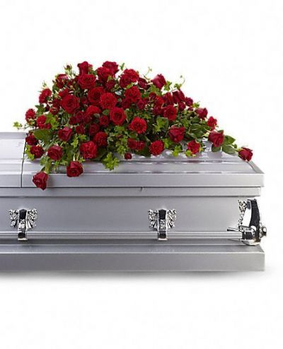 casket spray, funeral flowers, flowers for a casket, roses on a casket