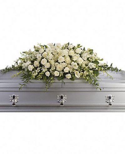 casket spray, funeral floral arrangements, funeral flowers, sympathy flowers