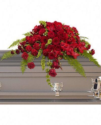 casket spray, funeral arrangements, funeral flowers, red floral funeral arrangement