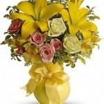 lilies, roses, alstroemeria, assorted greens, summer bouquet
