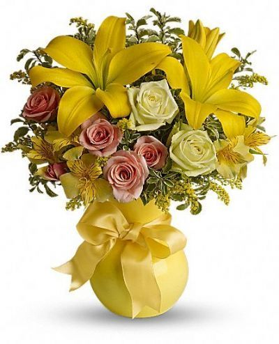 lilies, roses, alstroemeria, assorted greens, summer bouquet