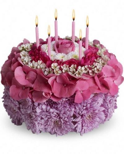 birthday floral arrangement, birthday flowers with candles, hydrangea, waxflower, mums, button mums