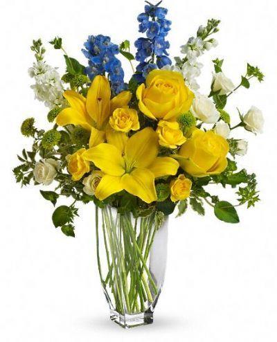 lilies, roses, delphinium, button mums