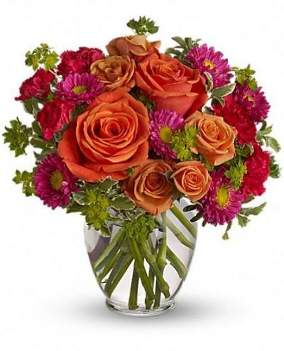 orange, hot pink, summer bouquet