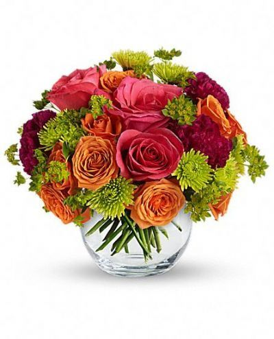 glass bowl, summer bouquet, romantic bouquet, roses, hot pink, orange, green