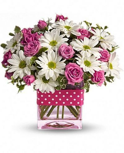 pink roses, white daisies, polka dot ribbon, summer bouquet