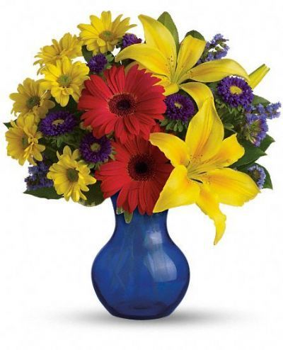 yellow lilies, red gerberas, purple asters, daisiies, statice, green lemon leaf, summer bouquet