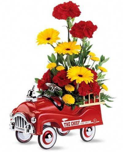 keepsake gift for new baby, flowers for new baby, new baby gift ideas, floral arrangement with fire engine