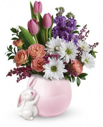 flowers for new baby, gift ideas for new baby, floral arrangement with ceramic bunny vase, spring bouquet for new baby
