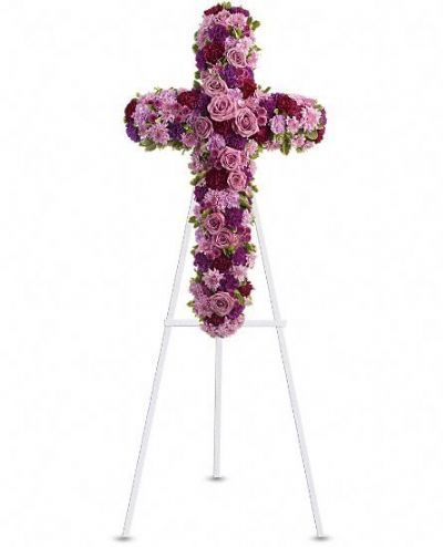 religious funeral wreath, sympathy flowers, lavender rose funeral wreath, memorial flowers Toronto, tribute cross wreath, wreath in the shape of a cross