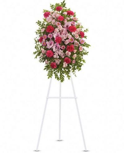 tribute standing spray, funeral floral arrangements, memorial flowers, tribute flowers