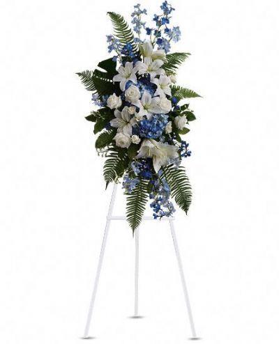 standing funeral floral arrangement, funeral spray, memorial flowers GTA, sympathy flowers