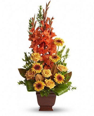 orange and gold sympathy flowers, funeral flowers, memorial floral arrangement, tribute floral arrangement