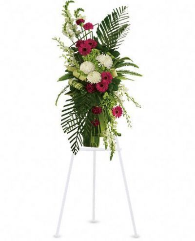 sympathy flowers GTA, gerbera and palms standing spray, funeral floral arrangements