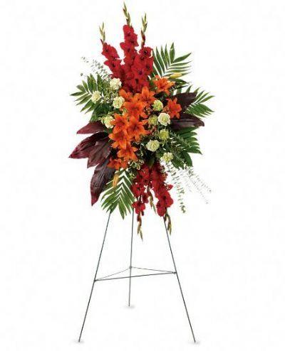 standing spray sympathy flowers, funeral floral arrangements Toronto, memorial flowers, in memory of flowers