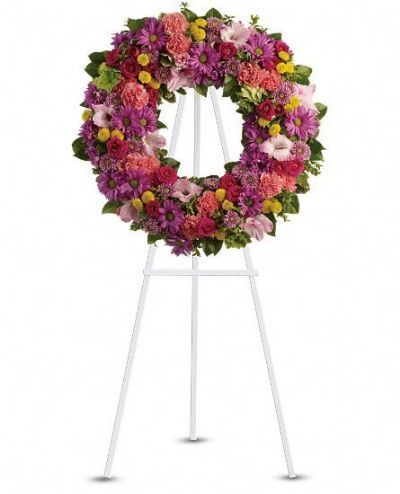 funeral floral wreath, sympathy floral wreath, bright floral wreath