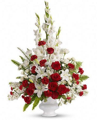 tribute flowers, sympathy flowers, funeral floral arrangement