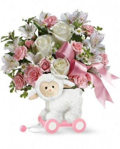 flower arrangement for new baby girl, gift ideas for new baby girl, flowers for new baby