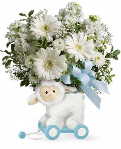gift ideas for new baby, flower arrangements for new baby boy, floral arrangement for new baby, lamb keepsake vase