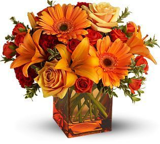birthday flowers, flowers, roses, gerbera, orange, red, carnations