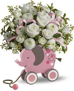 gift ideas for new baby girl, flowers for new baby, floral arrangement for new baby girl, elephant pull toy, gifts for new mom