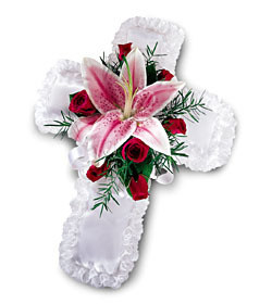 pillow for inside casket, lily, red roses, sympathy, funeral