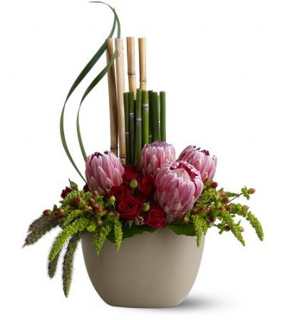 exotic floral arrangement, zen floral arrangement, contemporary design floral arrangement, proteas, roses, bamboo, artistic floral arrangement