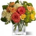 orange, white, roses, carnations, mums, green