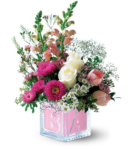 congratulation flowers for new baby girl, new baby floral arrangement, crystal baby block vase