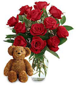 birthday gift ideas, teddy bear with roses, dozen roses, birthday flowers