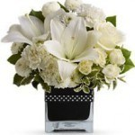 white bouquet, lilies, roses, mums, spray roses