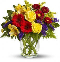 summer bouquet, roses, yellow, purple, gerbera, alstroemeria, matsumoto asters, button mums, statice